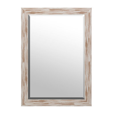 Distressed White Driftwood Framed Mirror, 30x42