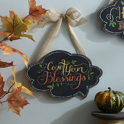 Count Your Blessings Chalk Art Wall Sign