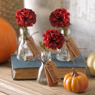 Single Red Blossom Arrangement, Set of 3