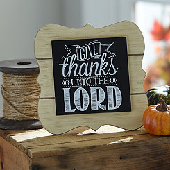 Give Thanks Chalk Art Easel Plaque