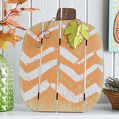 Gold Chevron Wood Slat Pumpkin