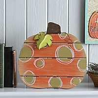 Gold Polka Dot Wood Slat Pumpkin