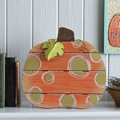 Gold Polka Dot Wood Slat Pumpkin