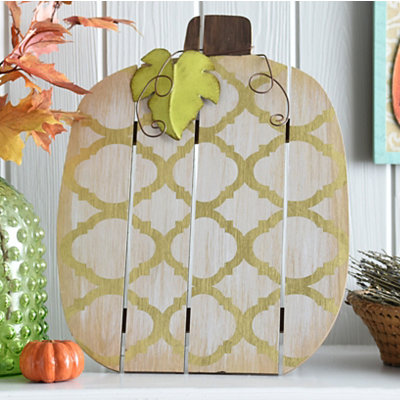 Gold Quatrefoil Wood Slat Pumpkin