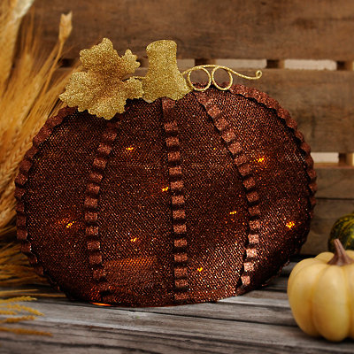 Bronze Metal LED Pumpkin
