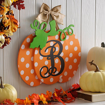Polka Dot Monogram B Pumpkin Wall Sign