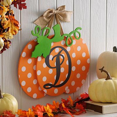 Polka Dot Monogram D Pumpkin Wall Sign