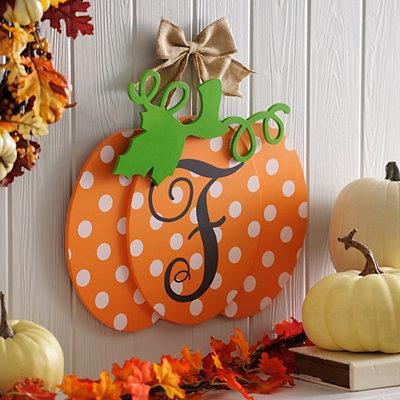 Polka Dot Monogram F Pumpkin Wall Sign