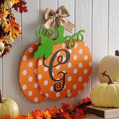 Polka Dot Monogram G Pumpkin Wall Sign