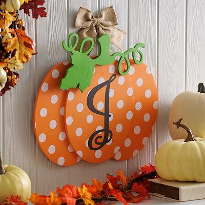 Polka Dot Monogram J Pumpkin Wall Sign