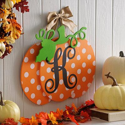 Polka Dot Monogram K Pumpkin Wall Sign