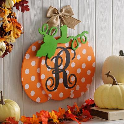 Polka Dot Monogram R Pumpkin Wall Sign