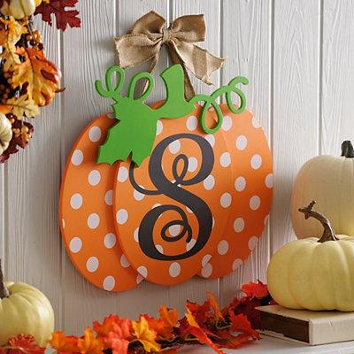 Polka Dot Monogram S Pumpkin Wall Sign