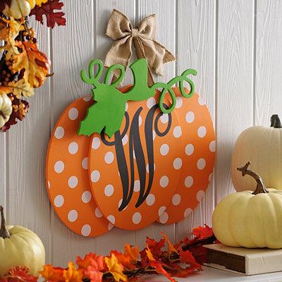 Polka Dot Monogram W Pumpkin Wall Sign