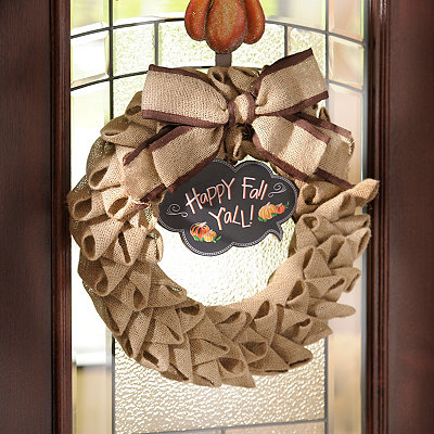 Burlap Happy Fall Y'all Chalkboard Wreath