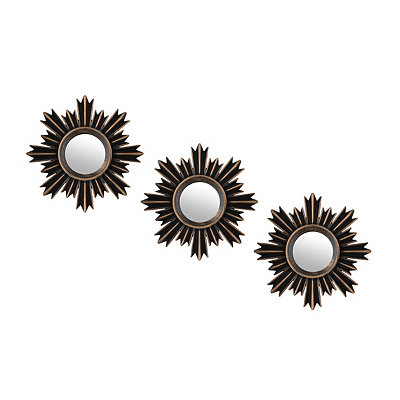 Brushed Gold Starburst Mirrors, Set of 3