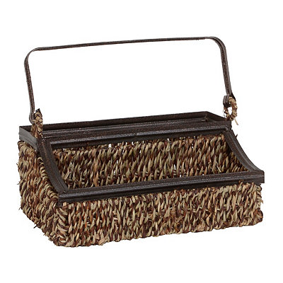 Seagrass and Metal Flatware Caddy