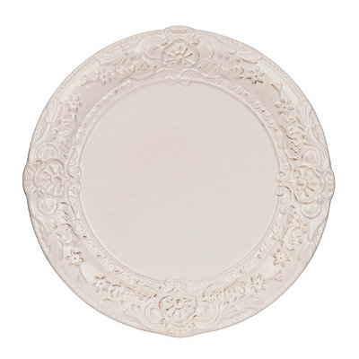 Antique Ivory Baroque Dinner Plate