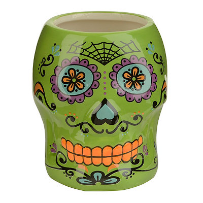 Green Day of the Dead Skull Mug