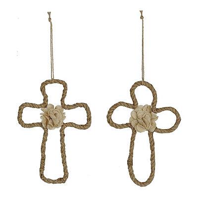 Burlap Wrapped Rope Crosses