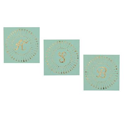 Turquoise & Gold Monogram Plaques