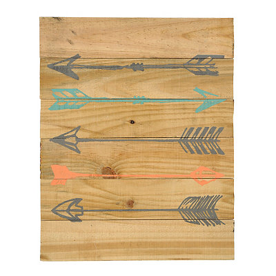 Colorful Arrows Wood Plank Plaque