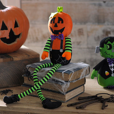 Plush Jack-O'-Lantern Shelf Sitter