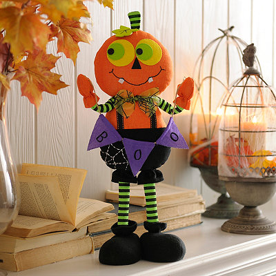 Plush Pumpkin Boy with Banner Statue