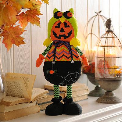 Plush Pumpkin Boy in Hat Statue