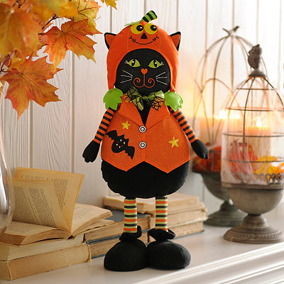 Plush Black Cat in Hiding Statue