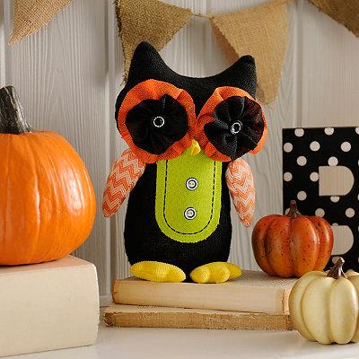 Black Burlap Owl Statue