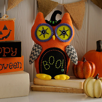 Orange Burlap Owl Statue