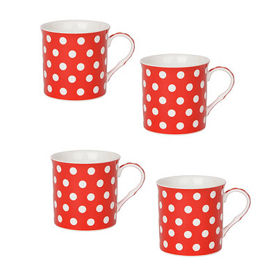 White and Red Polka Dot Mugs, Set of 4