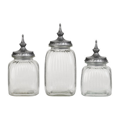 Pewter Spindle Kitchen Canisters, Set of 3