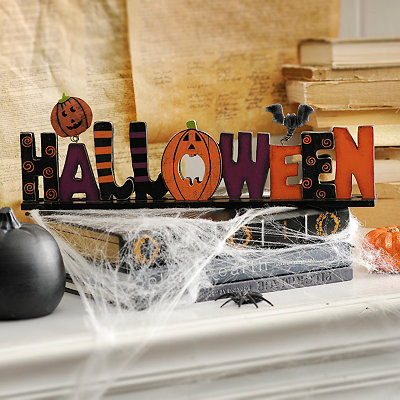 Halloween Patterned Wooden Tabletop Sign