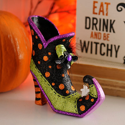 Polka Dot Glittery Witch's Shoe