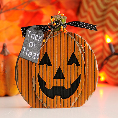Trick or Treat Wooden Jack O' Lantern