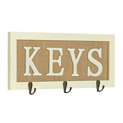 Burlap Keys Wall Hook