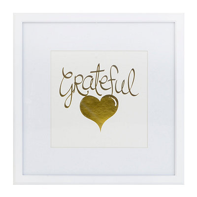 Gold Grateful Heart Framed Art Print