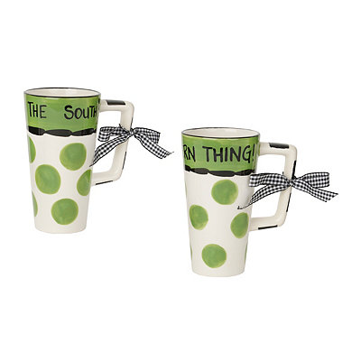 Green Southern Ceramic Mugs, Set of 2