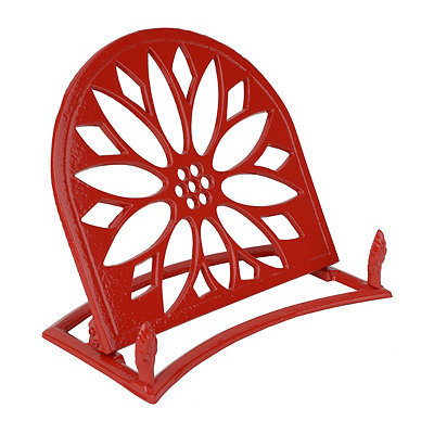 Red Cast Iron Sunflower Cookbook Stand