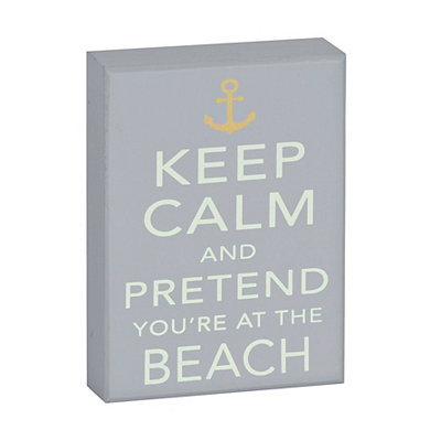 Coastal Keep Calm Wooden Plaque
