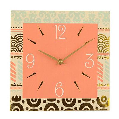 Coral Tribal Canvas Clock