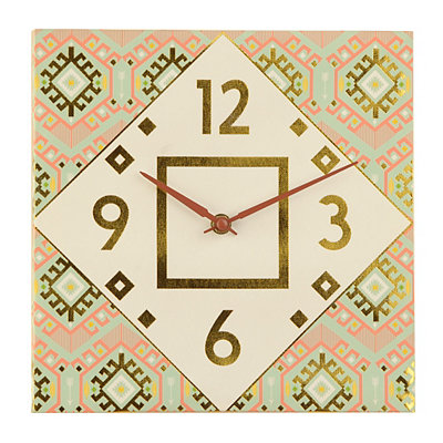 Aqua Tribal Canvas Clock