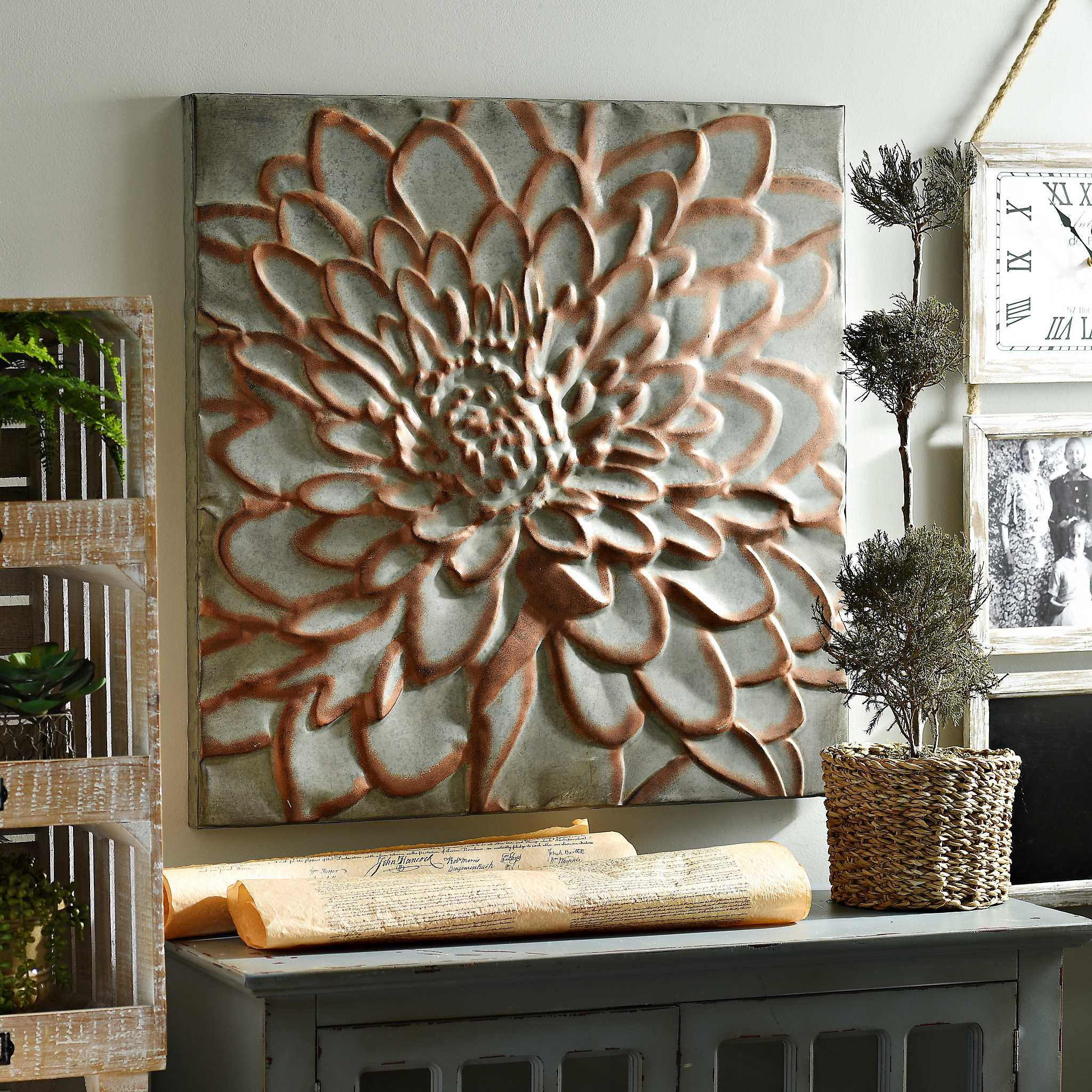 Copper floral metal wall plaque kirklands for Plaque de metal adhesive