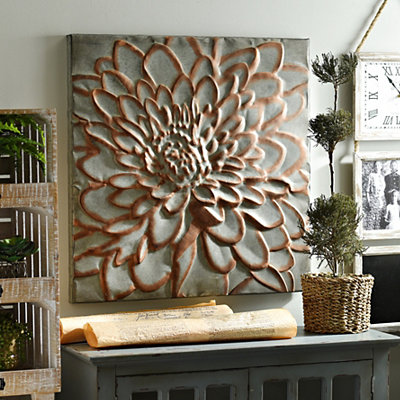 Copper Floral Metal Wall Plaque