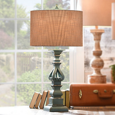 Cutout Turquoise Table Lamp