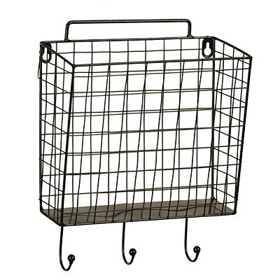 Black Metal Mesh Basket Wall Hook