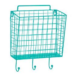 Blue Metal Mesh Basket Wall Hook