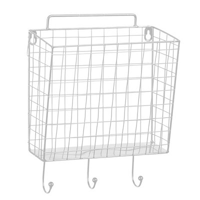 White Metal Mesh Basket Wall Hook